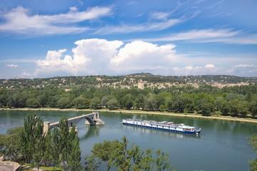 Foto auf Leinwand Fluss Rhone river, Avignon, France
