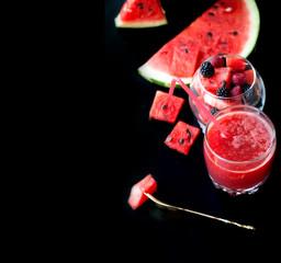 Summer fruit salad of watermelon flesh