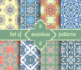 Set hand drawing tile vintage color seamless pattern. Italian majolica style