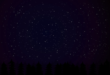 Vector night sky with dark tree silhouettes, night vector landscape