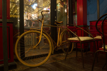 Vintage bicycle on the summer terrace bar