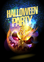 Halloween party poster with disco ball.