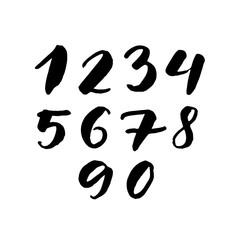 Black handwritten numbers 1, 2, 3, 4, 5, 6, 7, 8, 9, 0. Freehand