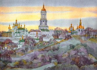 Watercolor cityscape. Ancient monastery on hill in evening haze