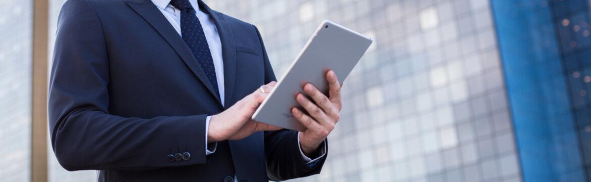 Businessperson using digital tablet