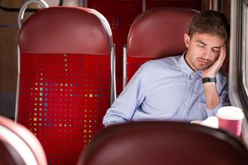 Sleeping passenger using public transport