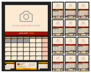 Wall Calendar Planner for 2016 Year. Vector Design Print Template with Place for Photo on Dark Background. Week Starts Monday. Portrait Orientation. Set of 12 Months