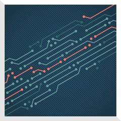 Circuit board background vector decorative computer, IT design. Blue version