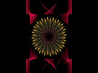 Dynamic three dimensional star flowers abstract fractal background