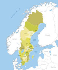 Highly detailed map of Swedish regions, vector.