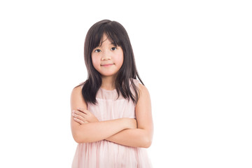 portrait of a little asian girl standing with folded hands over