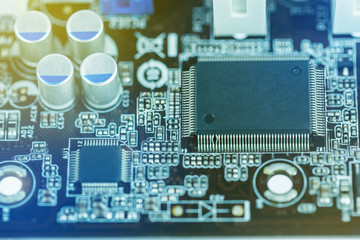 Close up image of electrical circuit mother board from computer