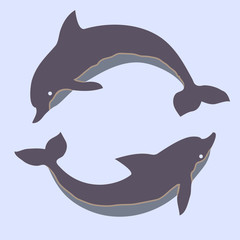 Two dolphins. Design for logo, illustration, t shirt, bag, tattoo, ads etc.