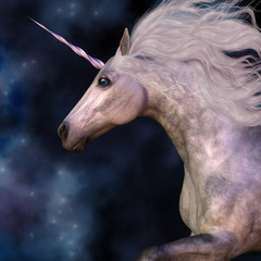 Dapple Grey Unicorn - Cosmic stars surround the beauty of a dapple grey unicorn as he prances across the universe.