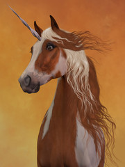 Sorrel Pinto Unicorn -The beauty and majesty of a sorrel pinto unicorn stand out against a golden background.