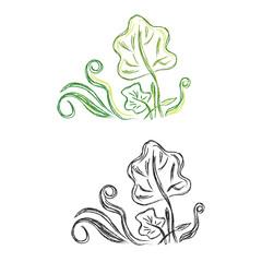 Sketch, autumn, leaves, design, vector illustration in sketch style