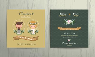 Wedding invitation card cartoon bride and groom portrait