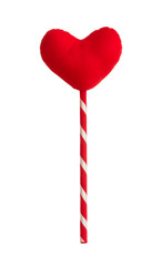 red heart pillow on sticks isolated on white background
