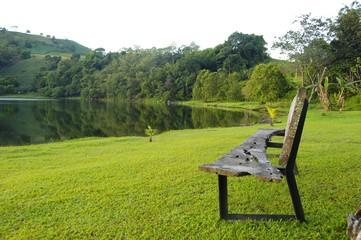 Wooden bench by the lake in Lake Apo, Bukidnon Philippines photo image