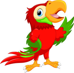 Cute cartoon macaw waving