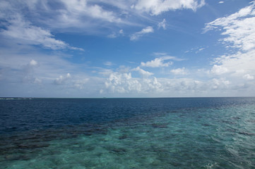 Beautiful sky over the Indian Ocean on a clear day