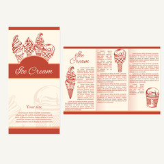 Retro card or poster with ice cream. Abstract brochure design. V