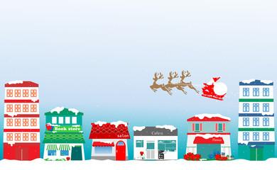 クリスマス、Christmas、Xmas、サンタ、サンタクロース、トナカイ、街並み、町並み、積雪、雪景色、雪、