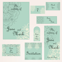 Set of wedding invitations. Wedding cards template with individu