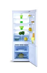 Open refrigerator with freezer, shiny white, steel, isolated on white, with fresh food, fridge freezer