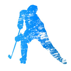 Abstract grungy vector ice hockey player
