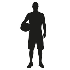 Basketball player standing with ball in hand. Vector silhouette