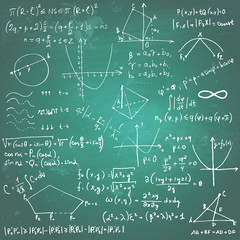 Mathematical formulas and drawings on a chalkboard