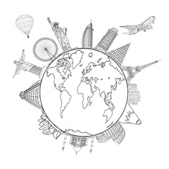 sketching the Earth and Global map with landmarks