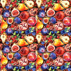 Seamless pattern. Colorful watercolor fruit. Set of fig, pomegranate, cranberry, blueberry, pear. Can be used for pattern fills, wallpapers,texture of fabric, surface textures.