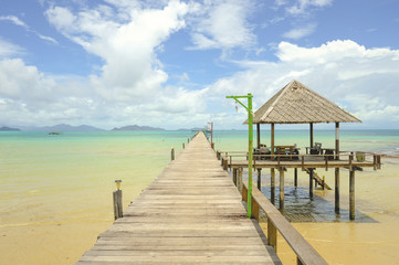 Wooden pier on summer season - Wooden pier in Kho mak, Thailand