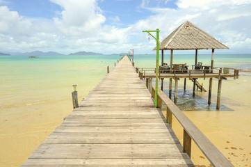 Wooden pier on summer season - Wooden pier in Kho mak, Thailand