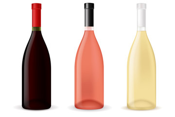 Bottles of wine - red, white and rose