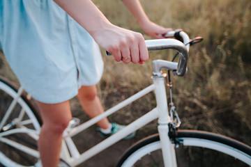girl on a vintage bike