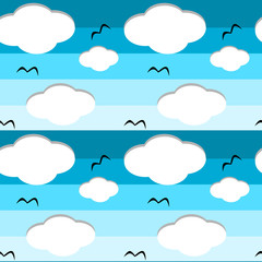 cartoon blue sky with clouds seamless vector pattern background illustration