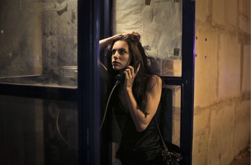 phone box in the night