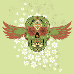 Day of The Dead colorful Skull with floral ornament and wings