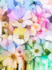 Oil Painting Soft colorful Bouquet of rose, daisy, lily and gerbera flower. Hand Painted floral, Still life of white color flowers with soft pink and purple background.