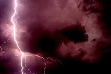 Heavy storm bringing thunder, lightnings and rain in summer