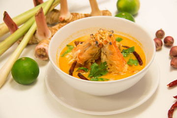 Tom Yum Goong - Thai hot and spicy soup with shrimp(selective focus)