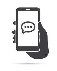 Hand Holding Phone Message Icon