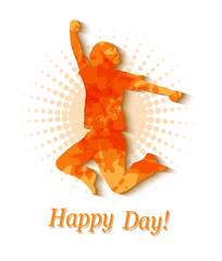 silhouette of a man jumping orange background halfton