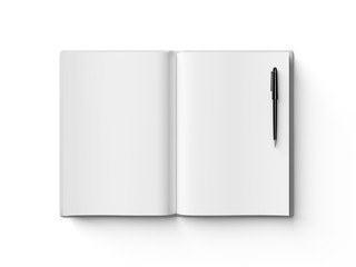 Black pen on white open book, on white background.