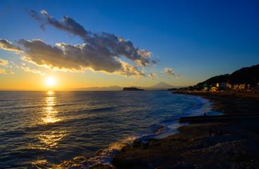 Enoshima and Mt.Fuji at dusk