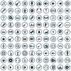 music 100 icons universal set