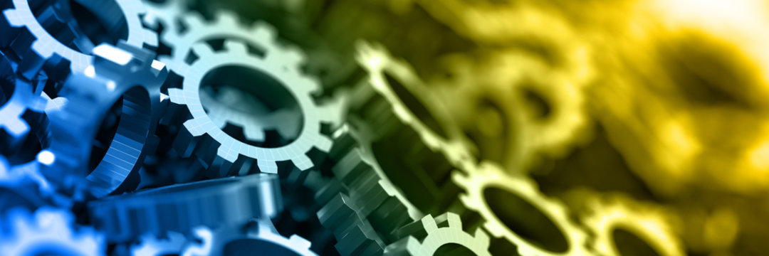 Gears background: technology and industry concepts.